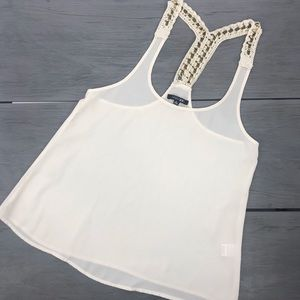 Paper moon dressy cream sheer tank top gold chain knit straps size small